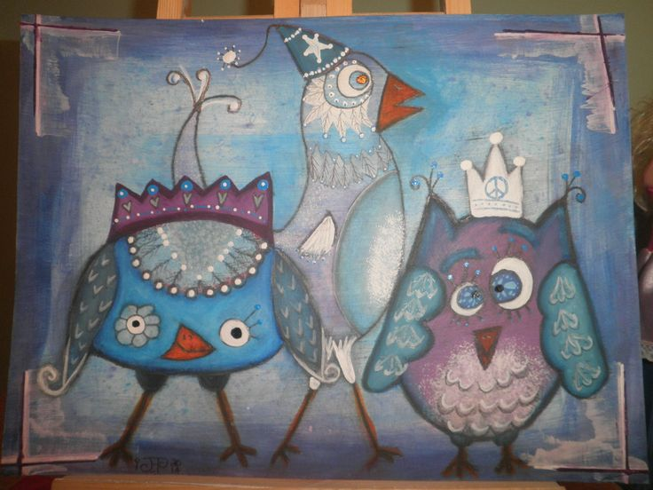 Quirky birds, mixed media painting on  9' x 11.5' mixed media paper, by Jackie Peniuk. Created for Willowing's Quirky Birds online class, can't recommend her courses enough!!!
