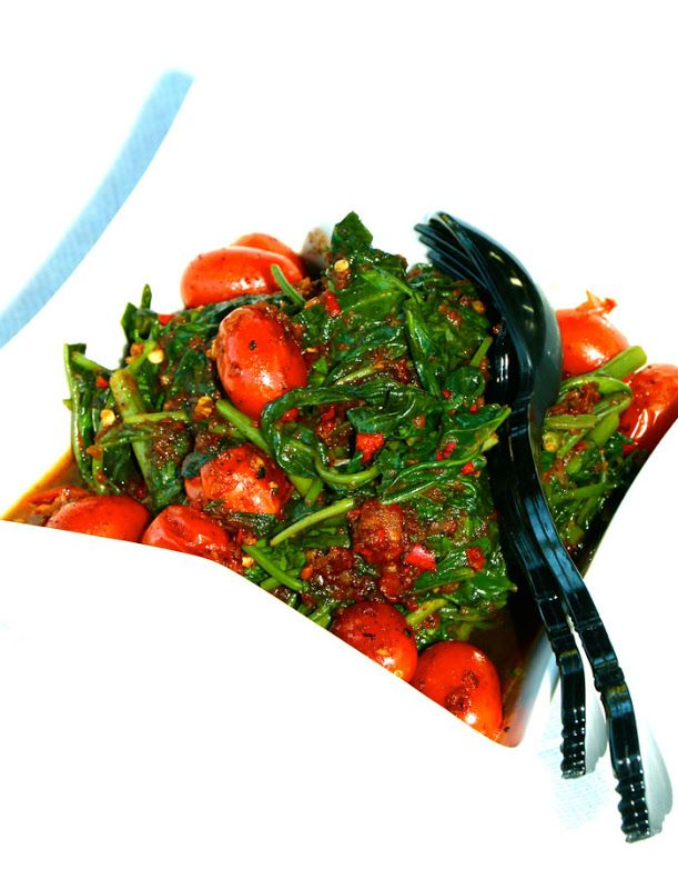Tumis Kangkung Bumbu Pedas (Spicy Stir Fry Kangkung/Water Spinach With Toasted Shrimp Paste)   ~Elra's Cooking~
