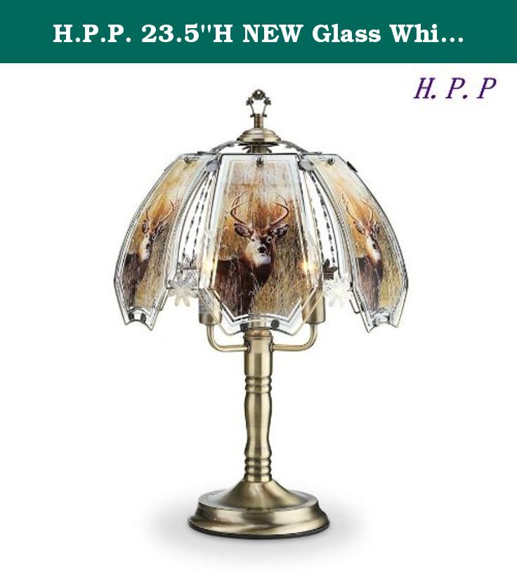 H.P.P. 23.5''H NEW Glass Whitetail Deer Touch Table Lamp w/ Gold Finish Base. These glass panels will always look great! The touch sensor gives you 3 light level settings with only a touch to any metal part of the lamp. The gold finish looks great with only minimal care. (Care instructions with lamp.) Changing your light level is as easy as 1-2-3. One touch on the metal gives you the lowest light level, a second touch gives you medium light and a third touch sets you lamp to its highest...