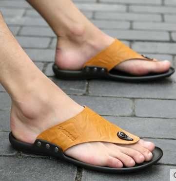 GOSAJUJE 2016 verano nuevas zapatillas zapatos planos del talón flip flops casual moda hombres libres del envío sandalias de cuero zapatos de los estudiantes