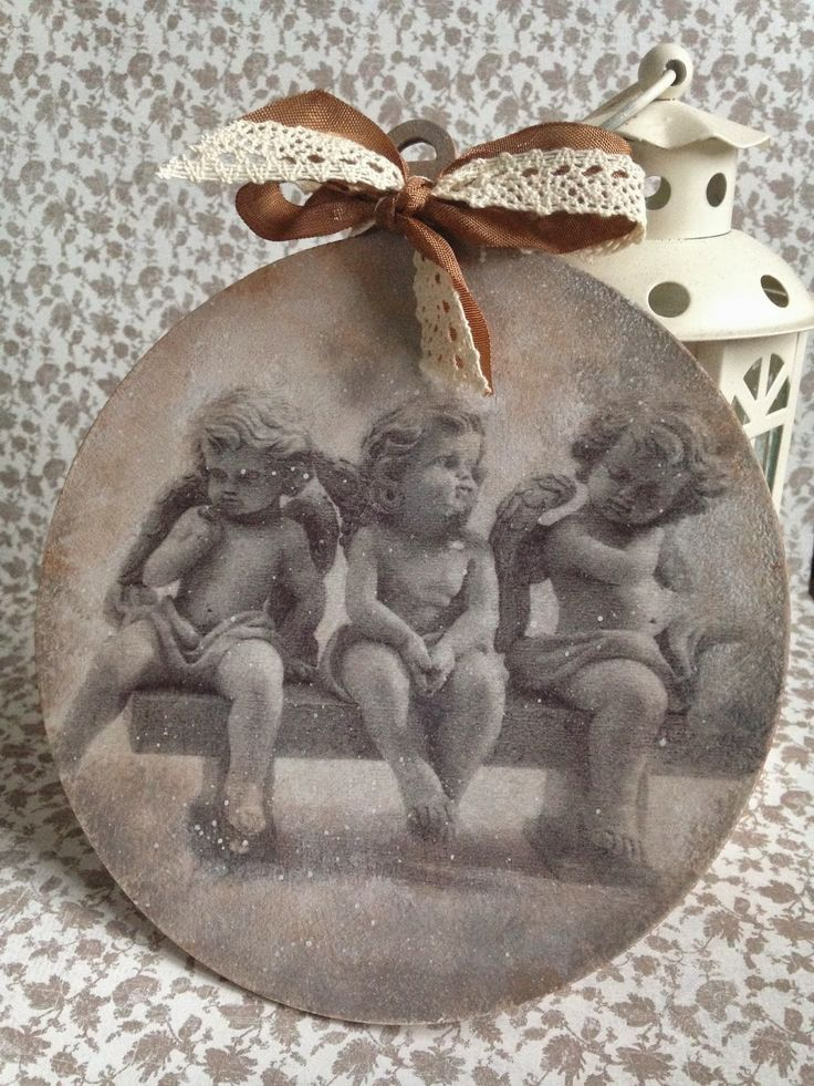 bombka decoupage #vintage #retro #angels #decoupage #christmas #ornaments
