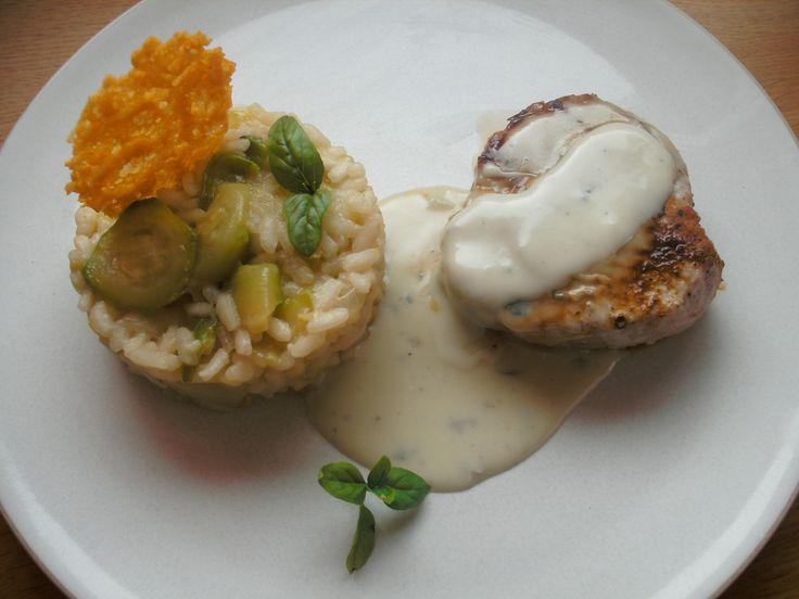 Grenadin de veau et son risotto au gorgonzola, tuile au parmesan - Blog cuisine avec du chocolat ou Thermomix mais pas que