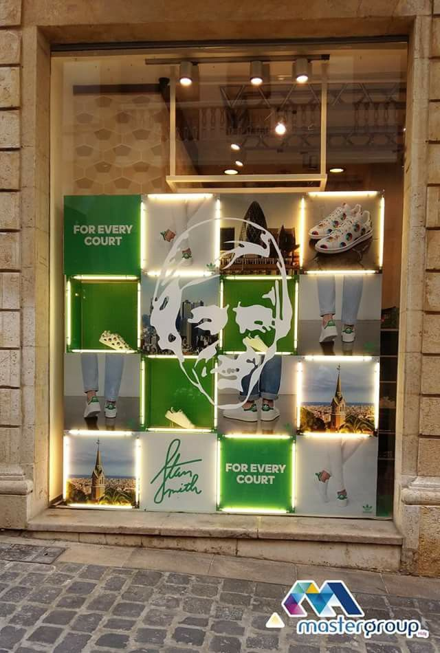Window display for Adidas lebanon made by Mastergrouphldg