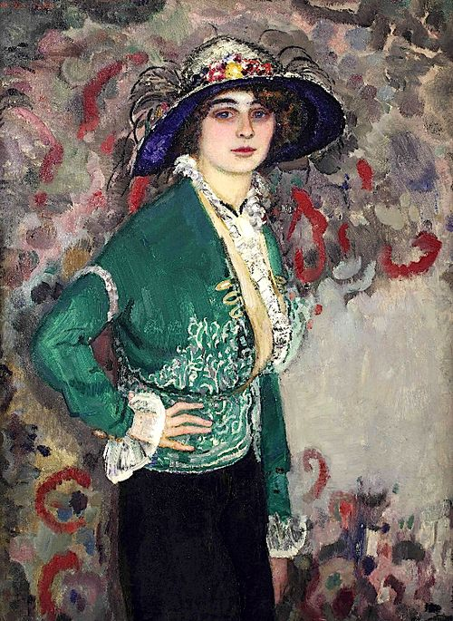 Jan Sluijters (1881-1957)   A portrait of a lady with a hat