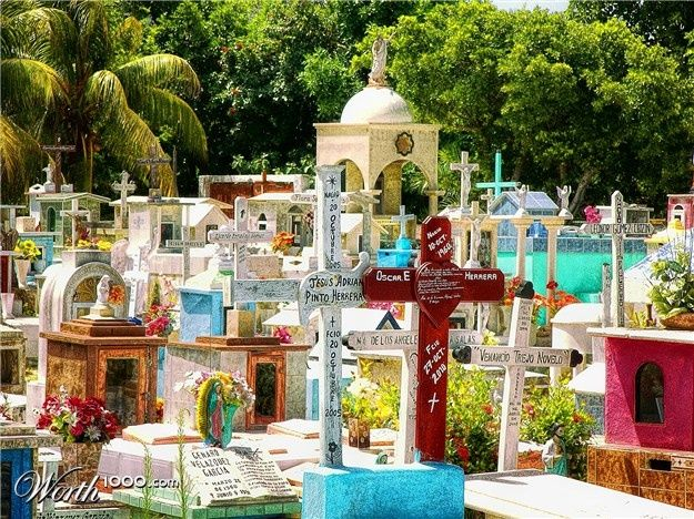 """Put a little shrine and """"graveyard"""" in the back 40 with colorful markers for those we have loved and lost. mexican head stones - Google Search"""