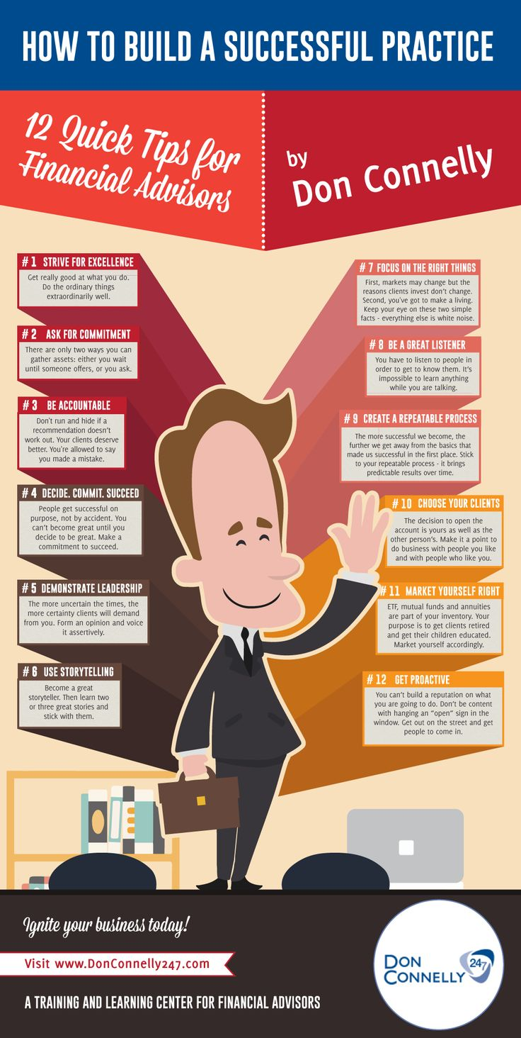 12 Practice Building Tips by Don Connelly - Financial Advisors INFOGRAPHIC