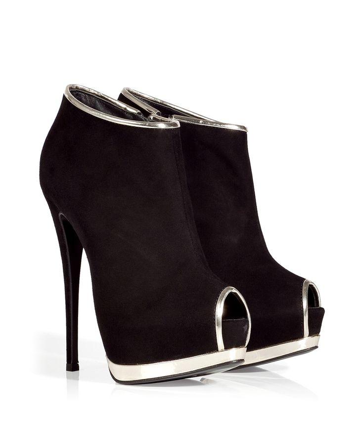 GIUSEPPE ZANOTTI Black and Silver Suede Camoscio Booties. http://fashionlovestruck.com/pre-fall-designer-must-haves/#