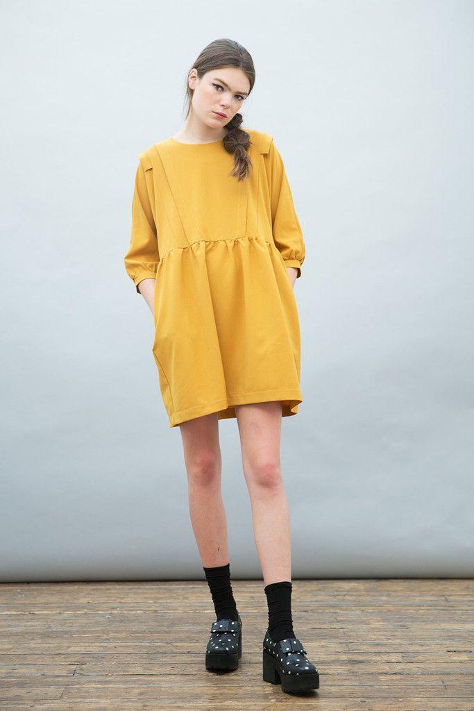 Frill Panel Insert Smock Dress Mustard