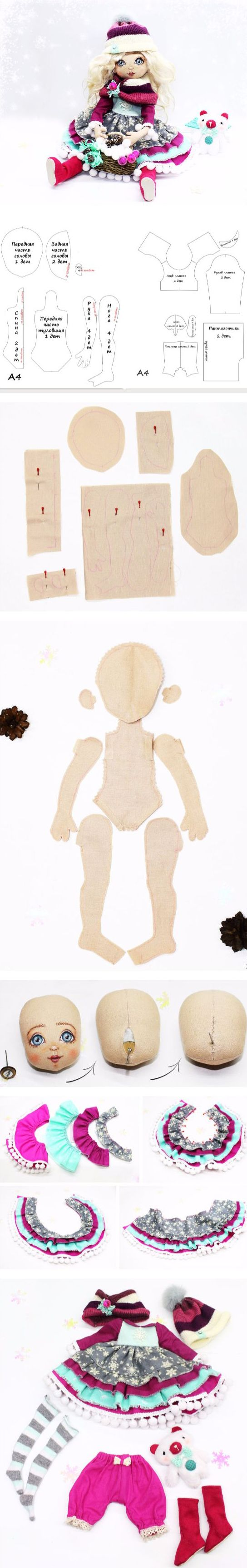 How to make adorable fabric doll wirh winter outfit. Click on image to see step-by-step tutorial
