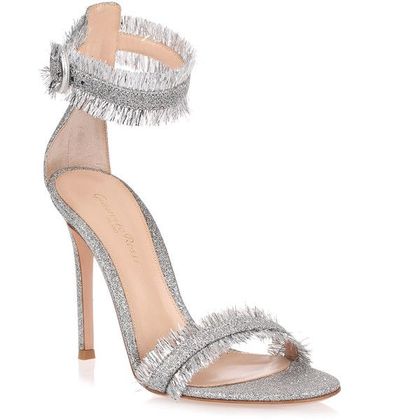 Caribe Silver Glitter Sandal ($770) ❤ liked on Polyvore featuring shoes, sandals, grey, silver glitter sandals, silver strappy sandals, silver strap sandals, high heel stilettos and buckle sandals