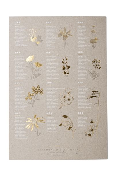 The newest edition to Young America Creative's poster ensemble, California Native Wildflowers, lists which wildflowers are in season each month. Use it as inspiration for your next boquet! Not on the Golden Coast? Brighten your walls with a little West Coast warmth.