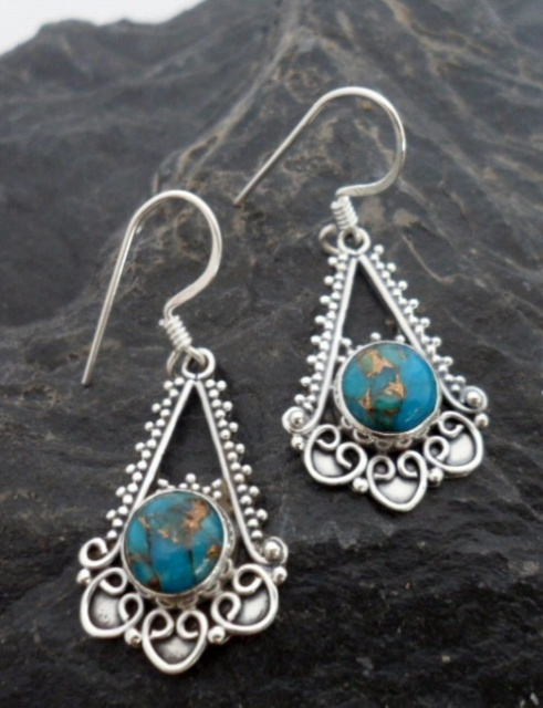$34.00~Sterling Silver Filigree Earrings with Round Mohave Turquoise Cabochon ~Designed in India~Please click on the picture for more details