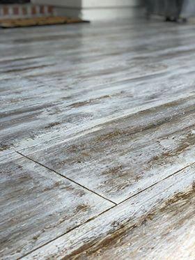 Rustic looking wood look concrete. #kitchenflooringideas