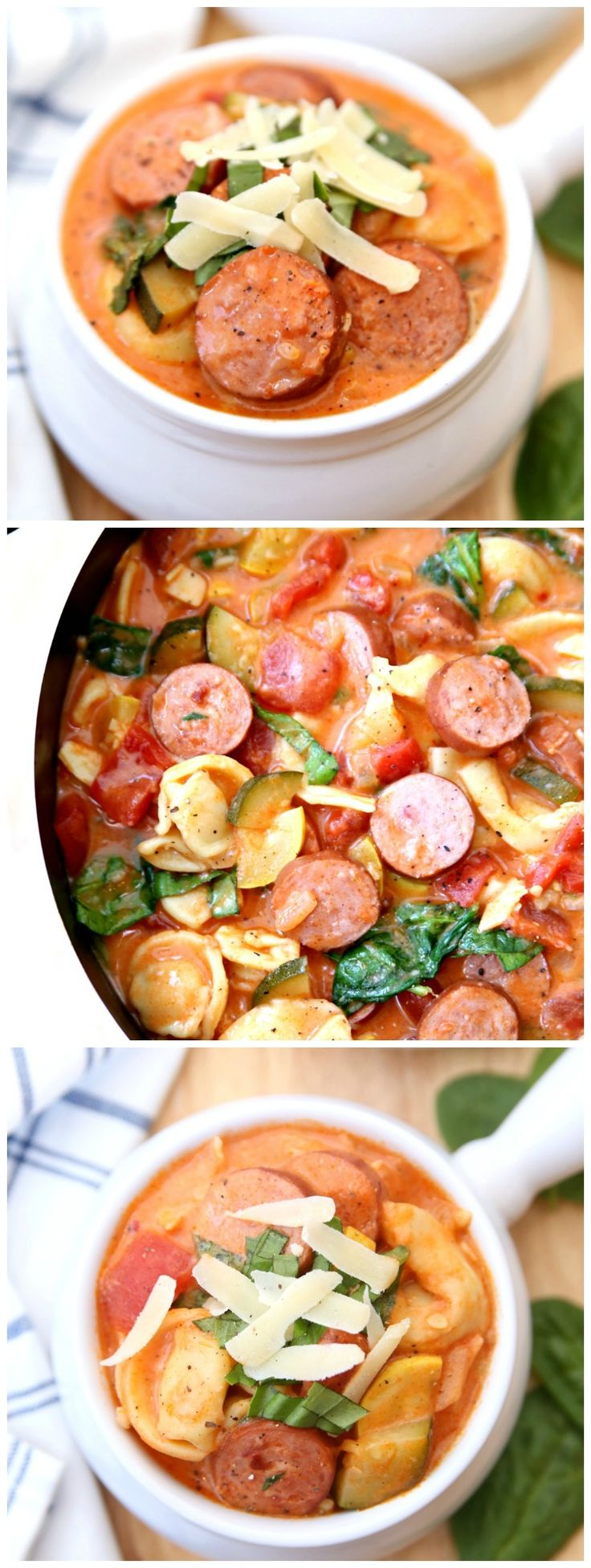 Creamy Smoked Sausage, Tomato, and Tortellini Soup - Perfect recipe for busy week nights. #EverydayEckrich #ad