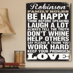 """18"""" x 24"""" Black and White Be Happy Family Rules with Last Name - Rustic Canvas Print Personalized"""