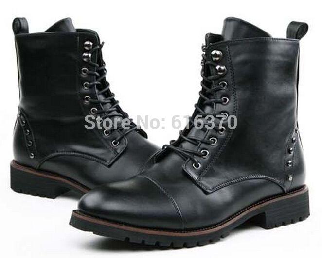 Мягкий искусственная кожа мужская британский стиль, Панк заклепки - свободного покроя работ высокого верха обуви, Мартин боевой загрузки, 6 - 9.5