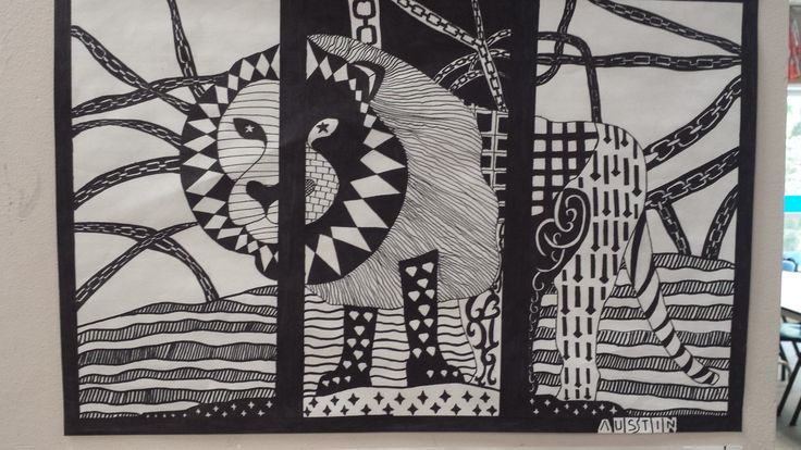Line Triptych project, Art Foundations 11 by Austin.
