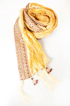 Pleated silk stole with embroidered lace from #Benzer #Benzerworld #MensAccessories #WeddingAccessories