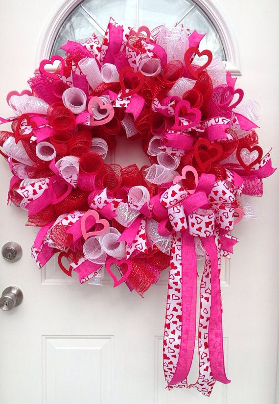 "Mesh Valentines Wreath ""Lots of Love"" on Etsy, $60.00"
