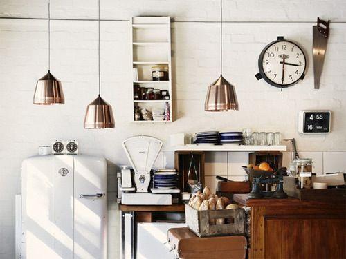 .Pendants Lamps, Lights Fixtures, Vintage Kitchens, Industrial Kitchens, Living Room Design, Home Design, Copper Pendants, Pendants Lights, Design Home