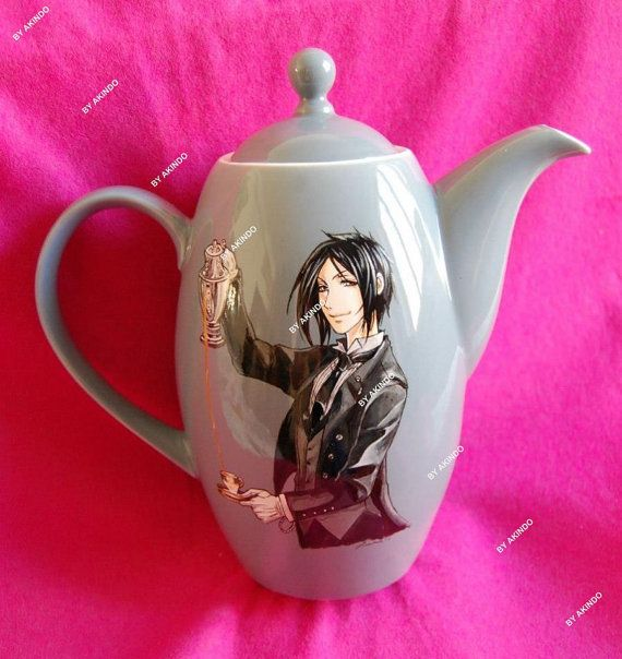 Handpainted Black Butler teapot by Akindoonline on Etsy