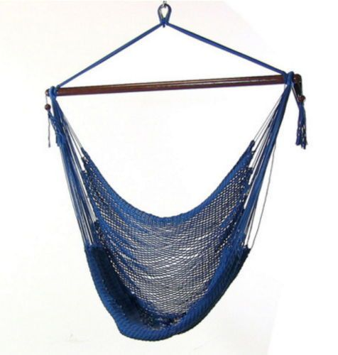 Caribbean Extra Large Blue Hanging Hammock Swing Swinging Chair Indoor Outdoor