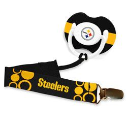 Pittsburgh Steelers Pacifier Clip $6.99 http://www.fansedge.com/Pittsburgh-Steelers-Pacifier-Clip-_2129629758_PD.html?social=pinterest_pfid23-45047---our baby WILL have this!!