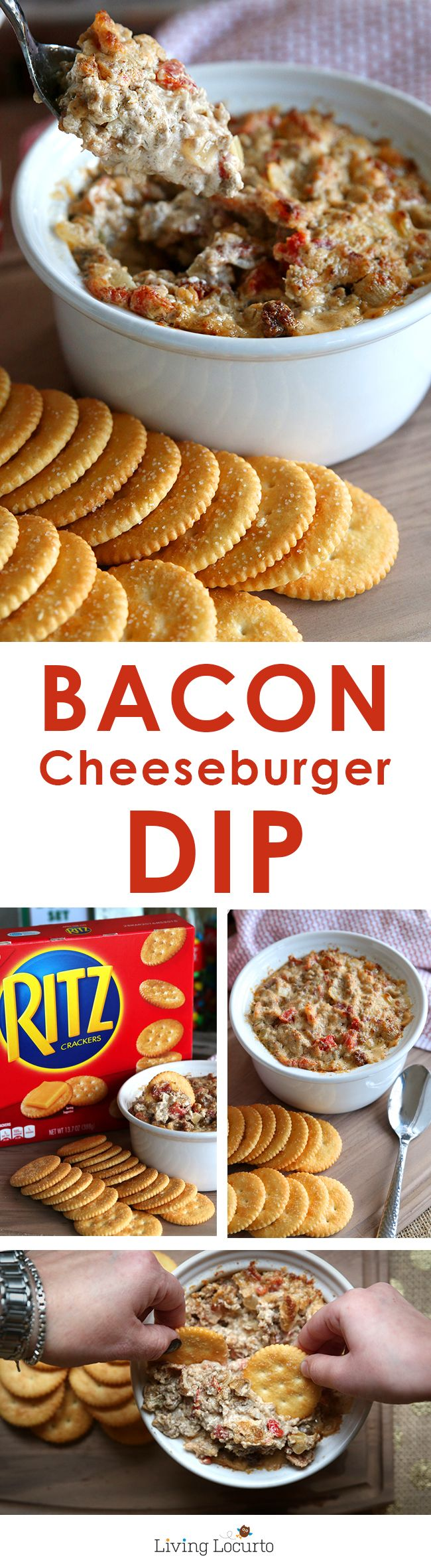Easy and Delicious Bacon Cheeseburger Dip! It's super addictive, watch out… you might end up eating the whole bowl of dip yourself! A perfect recipe for watching football or making for your next party. LivingLocurto.com  #iworkwithcoke ad