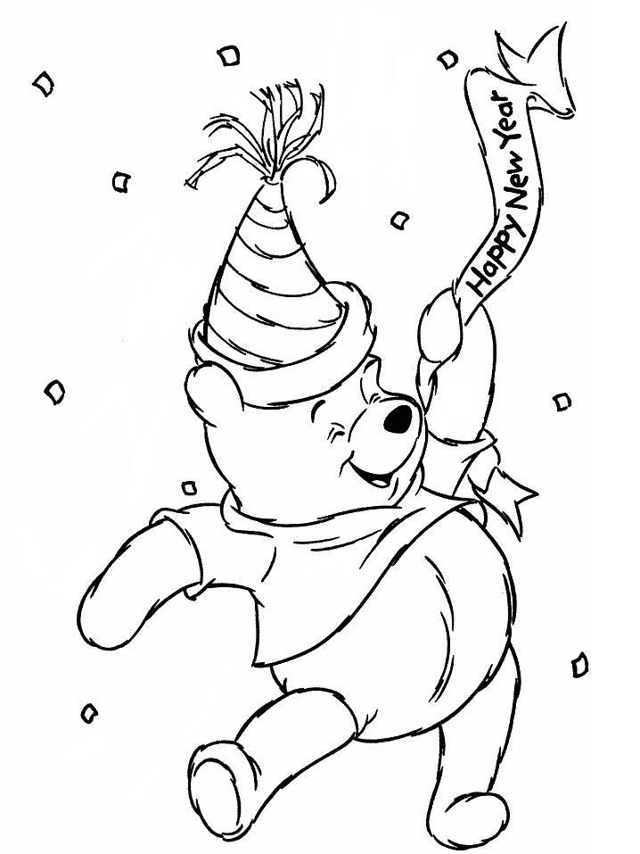 winnie the pooh having fun at the news year party coloring page