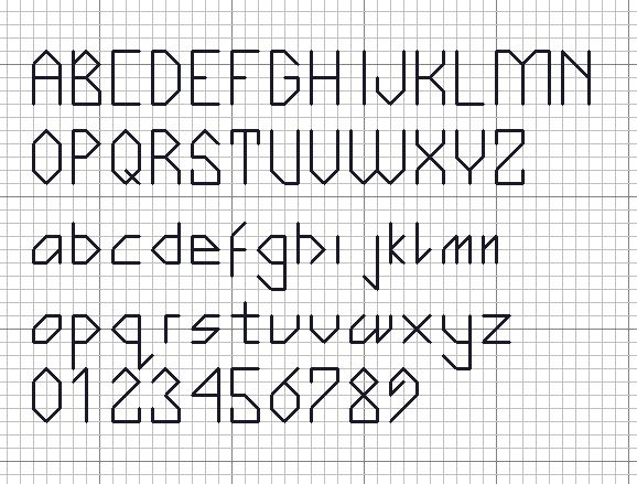 Free alphabet chart for counted cross stitch from Yarntree.com.