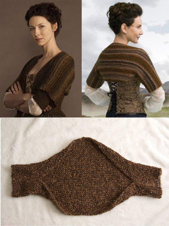 Outlander inspirado encolher de ombros, bolero transparente, mais quente ombro, padrão de malha   – Gestricktes Baby