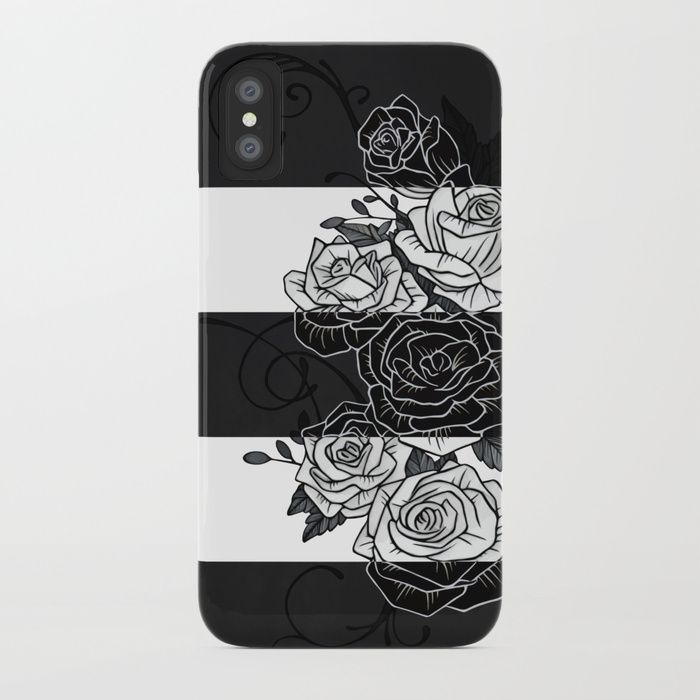 Inverted Roses iPhone Case. Protect your iPhone with a one-piece, impact resistant, flexible plastic hard case featuring an extremely slim profile. Simply snap the case onto your iPhone for solid protection and direct access to all device features. #roses #rose #flower #swirls #blackandwhite #striped #stripes #inverted #iphone #case