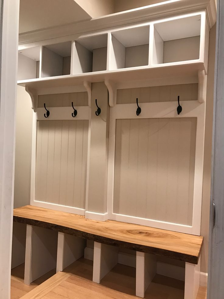 Hall Tree Entry Locker With A Live Edge Oak Bench Hall