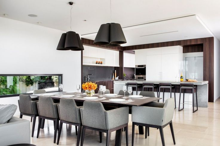 Architecture: Modern Pendant Lamps Dining Area Wooden Dining Table And Chairs Kitchen Island With Bar Stools Cutlery Set And White Ceiling: Family House - Timeless Luxury House Gathering Waterside Panoramas