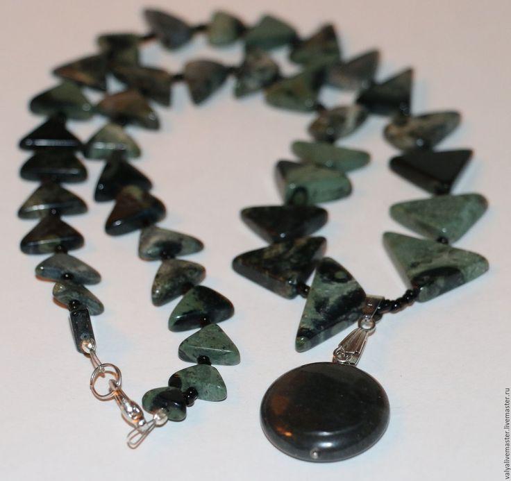 Купить Колье яшма природная натуральная Камбаба-змеевик-халцедон. - нежное украшение, недорогой подарок