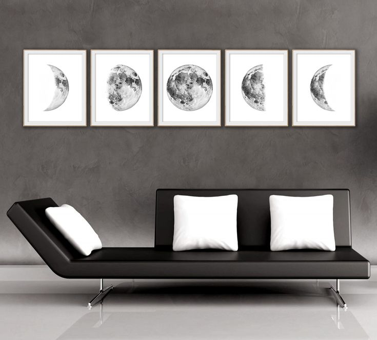 Moon phase Large Printable wall art Art print Watercolor painting Home decor Instant download Moon poster Wall decor Set of 3 prints