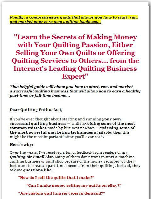 Quilting For Cash by Charlotte Colmon is latest quilting business guide which claims that it CAN teach you the secrets of making money with your quilting passion, wither by selling your own quilts or by offering quilting services to Others.