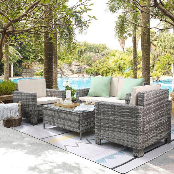 Walnew 4 Pieces Outdoor Patio Furniture Sets Rattan Chair Wicker Conversation Sofa Set Outdoor Indoor Backyard Porch Garden Poolside Balcony Use Furniture Bei In 2020 Outdoor Patio Furniture Sets Conversation Set