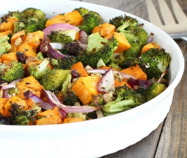 Focus on complex carbs like sweet potato, fibrous veggies and oatmeal. Try adding this yummy roasted veggie dish as a complex carb for your next meal prep!