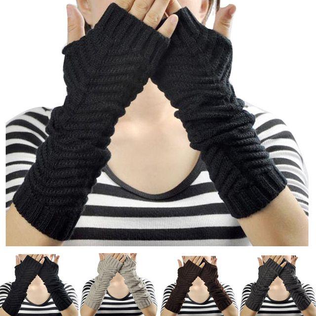 Jimshop nuevas mujeres sin dedos guantes tejidos del brazo calentador del invierno guantes de Color sólido medio dedo guantes