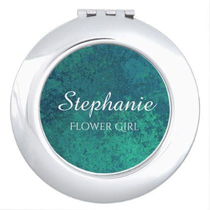 #Aquamarine Bridal Party | Chic Blue Green Teal Compact Mirror - #sophisticated #gifts #giftideas #custom
