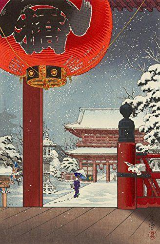 "Japanese Art Print ""A Winter Day at the Temple Asakusa"" by Tsuchiya Koitsu. Shin Hanga and Art Reproductions http://www.amazon.com/dp/B0123286TO/ref=cm_sw_r_pi_dp_ZoWvwb0K78XD7"