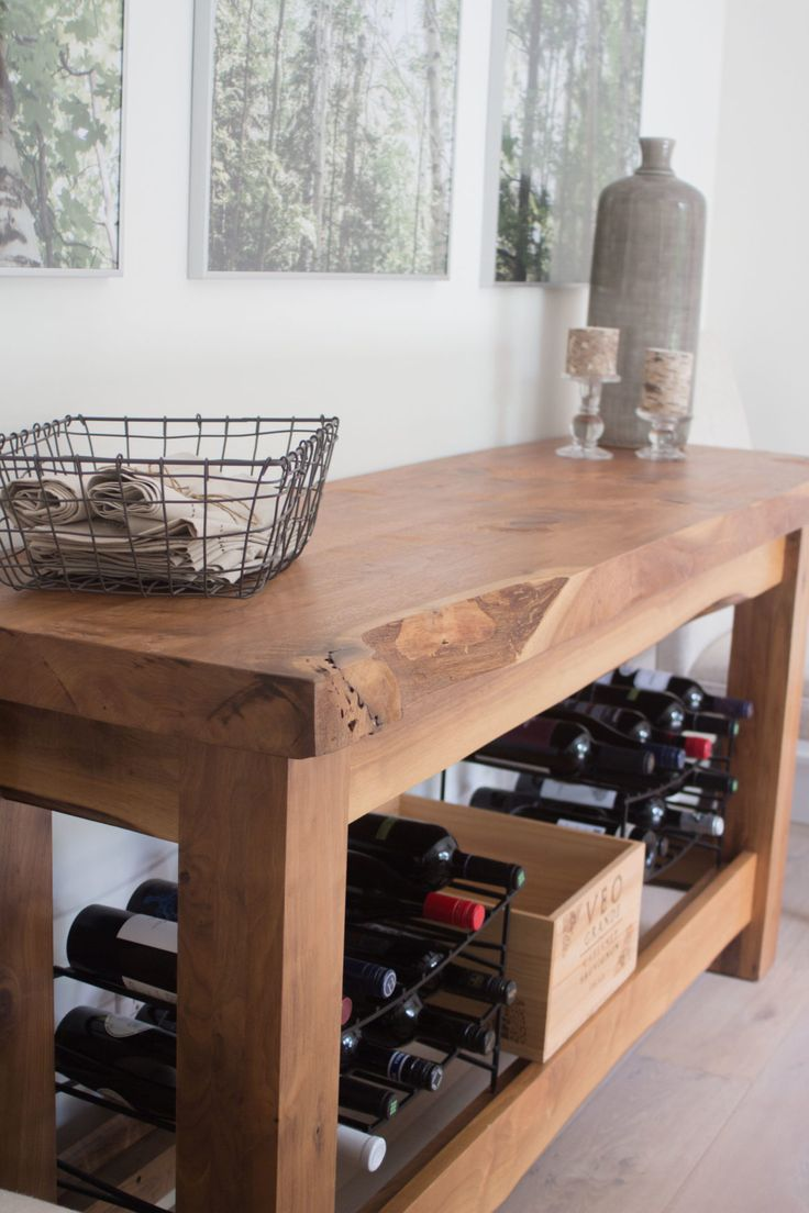 Live edge buffet table console table wine racks