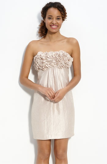 Alexia Admor Shimmer Satin Trapeze Dress with Ruffles $84