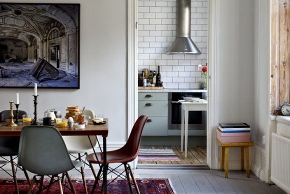 perfect.Dining Room, Cabinets Colors, Interiors Photography, Chairs, Kitchens Tile, Subway Tile, Eames, Interiors Design, Diningroom