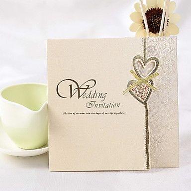 Classic hjertet design Square Wedding Invitation Med bowknot (sett av 50) – NOK kr. 227