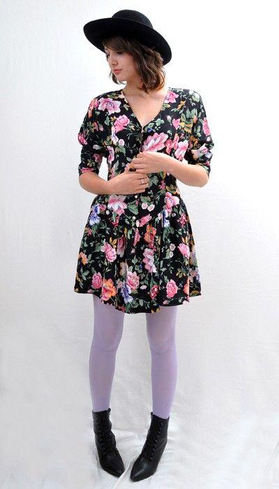 Vintage 80s Grunge Floral Flower Print Mini Dress Button