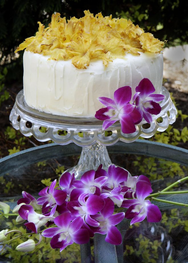 This gorgeous and tasty cake from Martha Stewart's Web site doesn't require a search for safe edible flowers, but give yourself plenty of time to make it.