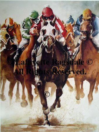 Art by Lafayette Ragsdale  All Horse Racing prints are being featured this month. Buy 1 get another for 1/2 price (equal or lesser value). Please convo me for a special listing.  ITEM SPECIFICS  LITHOGRAPH PRINT / EPSON PRINT / NOTE CARDS: Lithograph print ORIGINAL MEDIUM: Watercolor TITLE: By a Length and a Half SIZE: 25 1/4 x 19 1/4 SIGNED LIMITED / OPEN EDITION: Signed, Limited Edition OTHER PRODUCTS AVAILABLE WITH THIS IMAGE: No SHIPPING METHOD & CARRIER: Rolled in a tube via USPS…