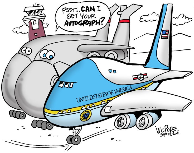 Air Force One parks at Westover cartoon. Air force ones